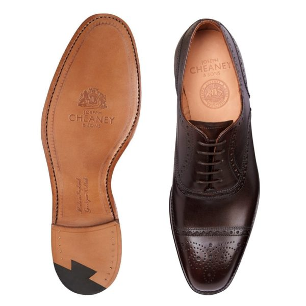 cheaney islington semi brogue in burnished mocha calf leather p667 6229 image