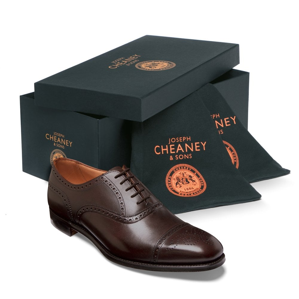 cheaney islington semi brogue in burnished mocha calf leather p667 6230 image