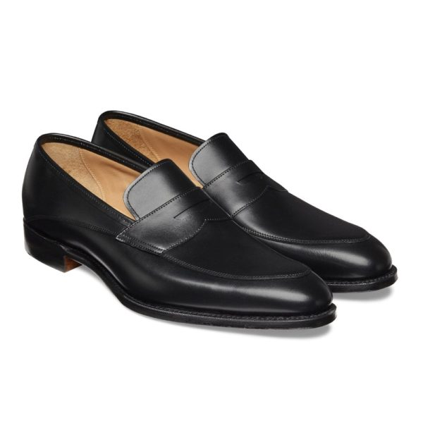 cheaney lewisham penny loafer in black calf leather p849 5839 image