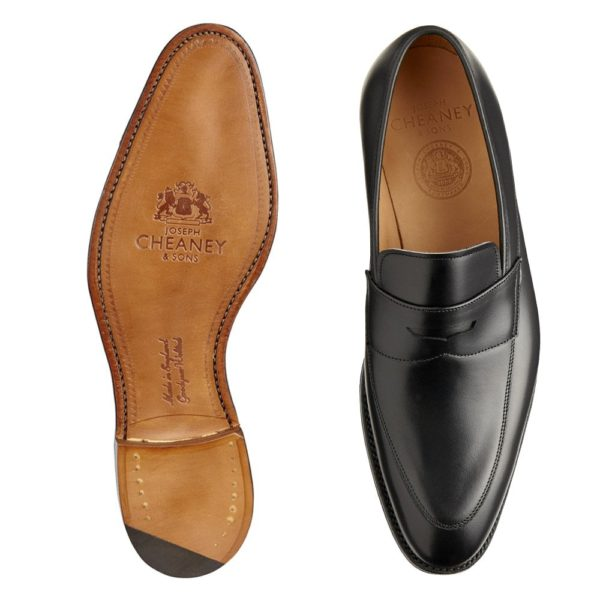 cheaney lewisham penny loafer in black calf leather p849 5840 image