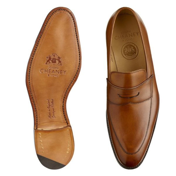 cheaney lewisham penny loafer in dark leaf calf leather p847 5824 image