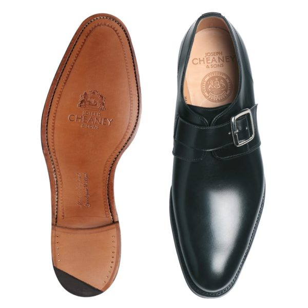 cheaney moorgate plain buckle monk shoe in black calf leather p36 1284 image
