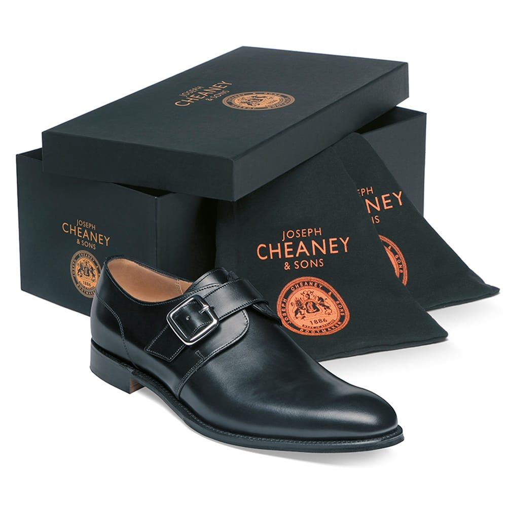 cheaney moorgate plain buckle monk shoe in black calf leather p36 1285 image