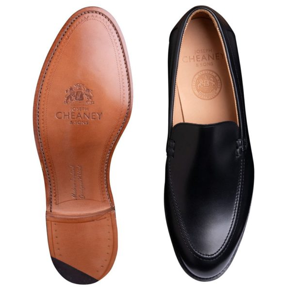 cheaney wilbur apron loafer in black calf leather p1036 7140 image
