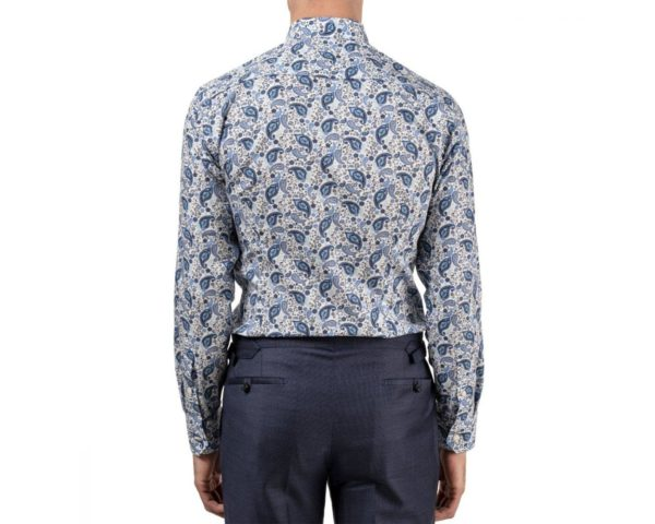 eton shirt blue paisley print back