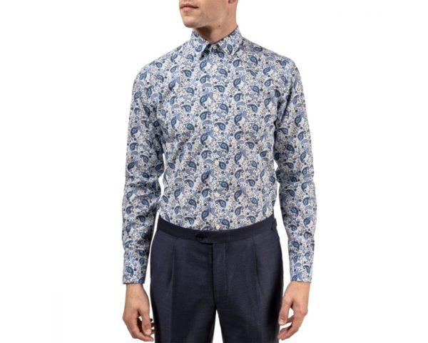 eton shirt blue paisley print front
