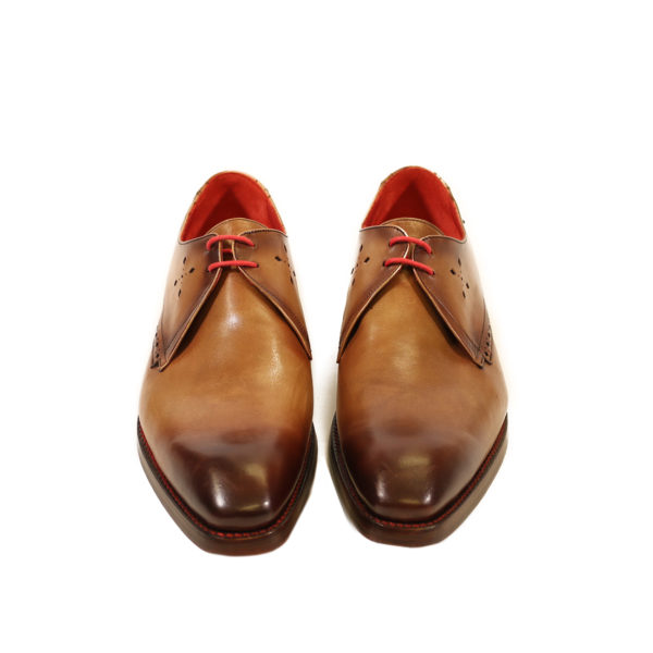 front JEFFERY WEST FLOYD MANCHA Mahogany SHADOW DERBY SHOES