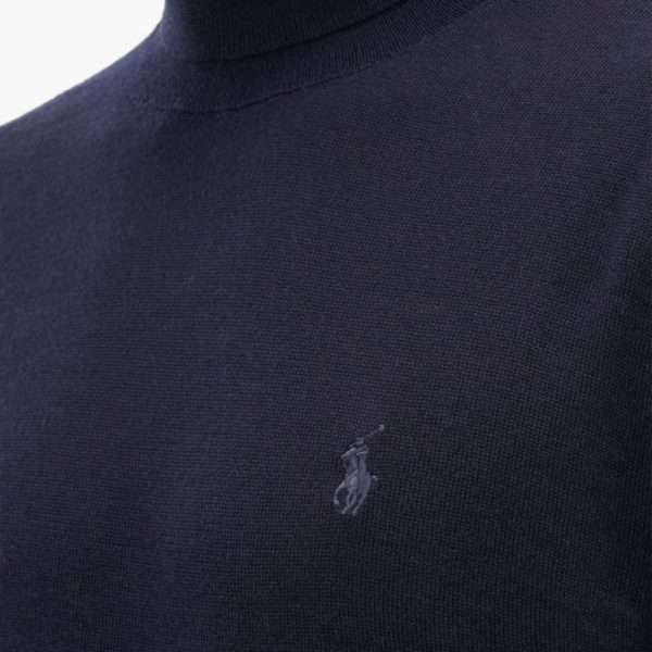 navy merino wool turtleneck detail
