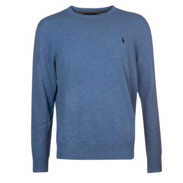 ralph lauren blue wool crew neck jumper