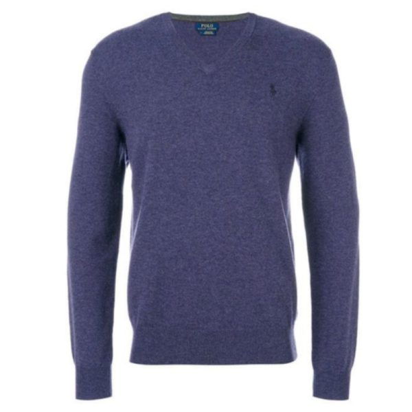 ralph lauren purple v neck wool jumper