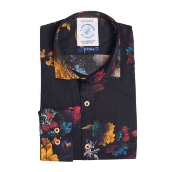 A FISH NAMED FRED FLOWER PRINT SHIRT BLACKMULTI2