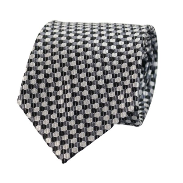 Armani Collezioni Hexagon Knit Tie BlackSilver