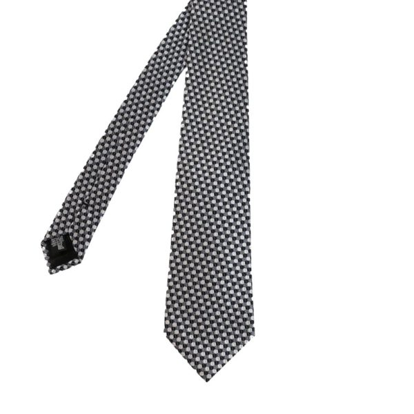 Armani Collezioni Hexagon Knit Tie BlackSilver main