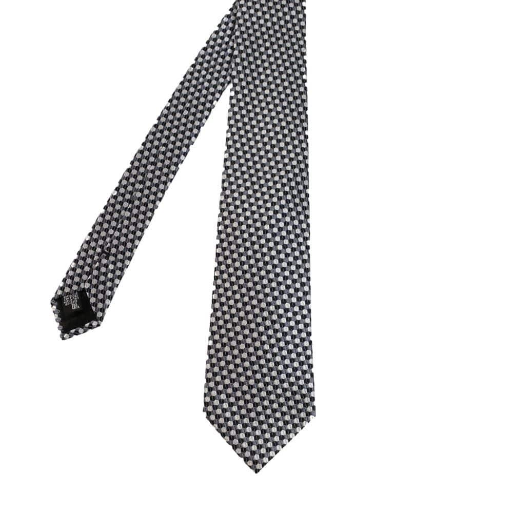 Armani Collezioni Hexagon Knit Tie BlackSilver main