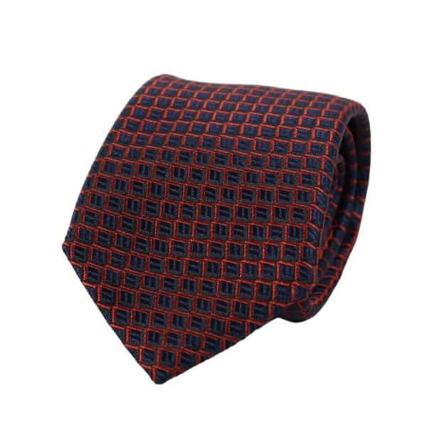 Armani Collezioni Scales Knit Tie navy red