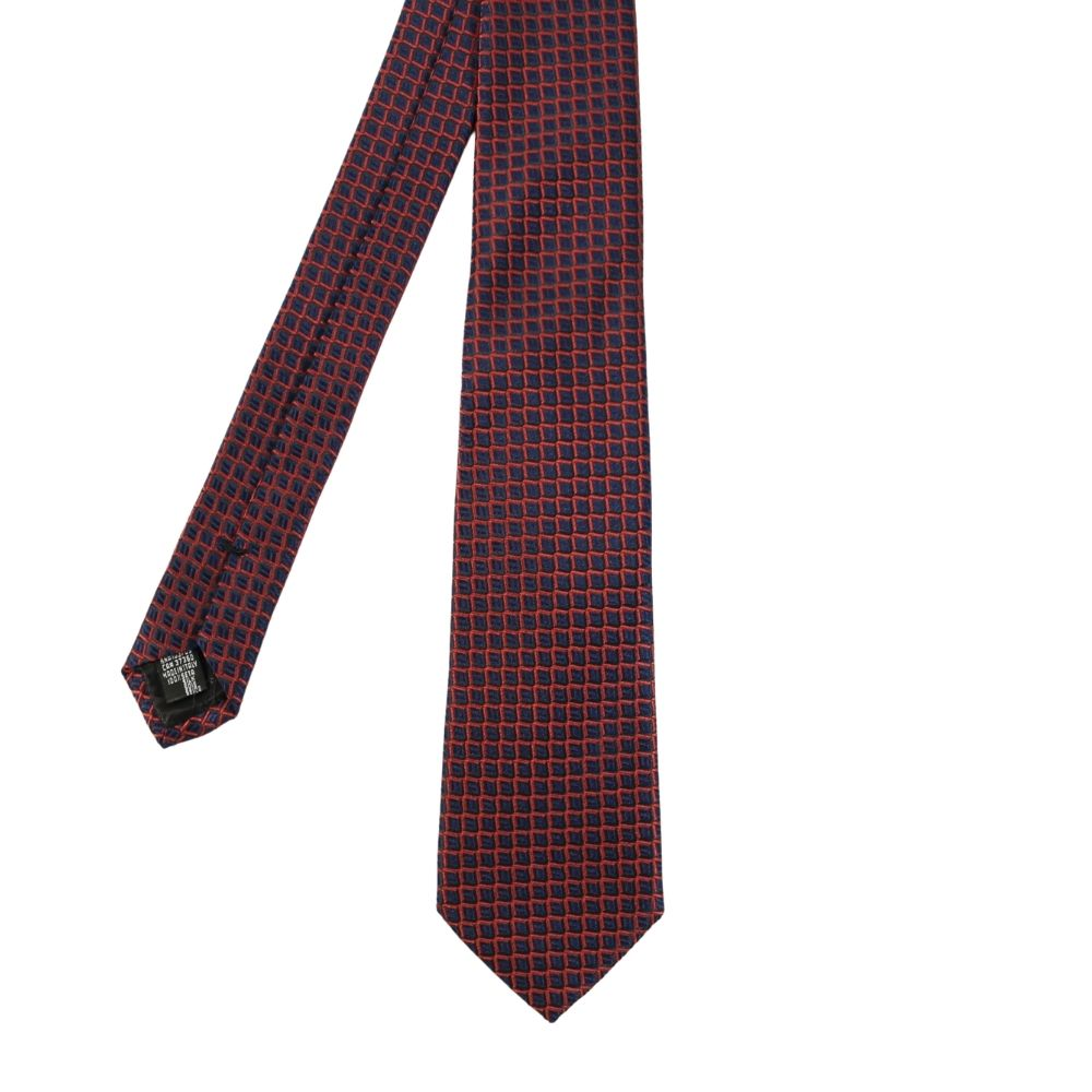 Armani Collezioni Scales Knit Tie navy red main