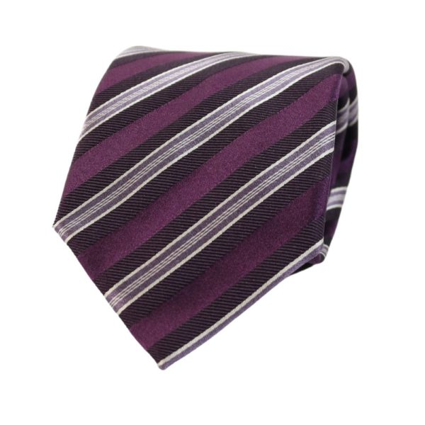 Armani Collezioni regimental triple stripe tie purple