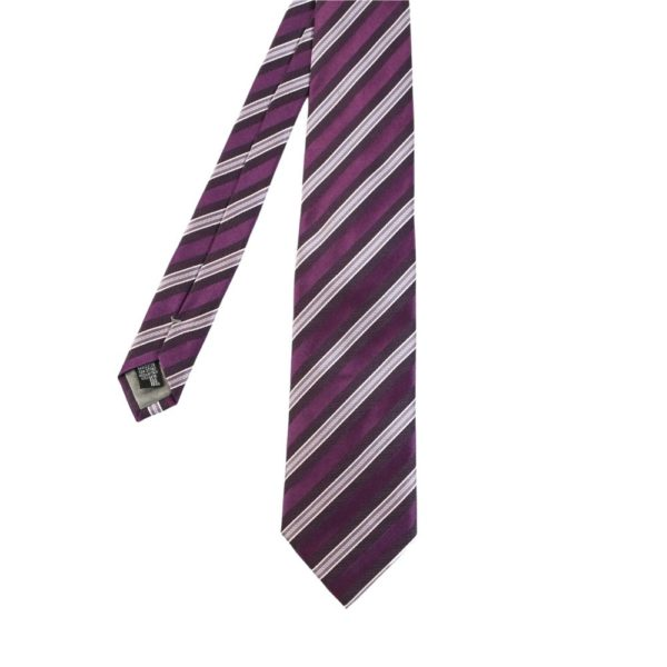 Armani Collezioni regimental triple stripe tie purple main