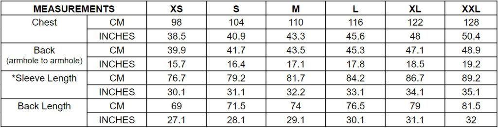 Barbour size chart 2