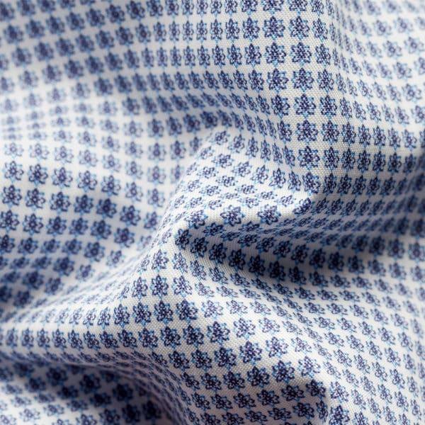 Blue micro flower shirt fabric