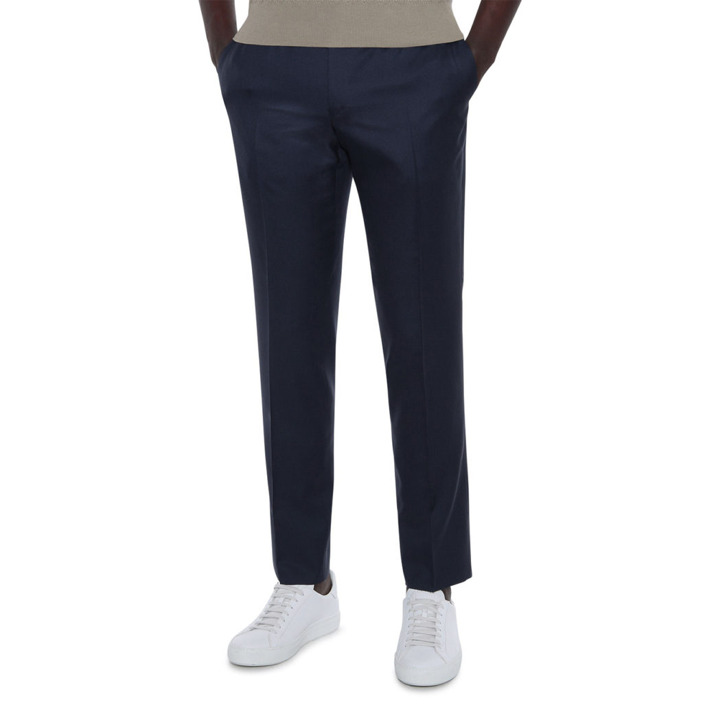 CANALI FORMAL WOOL TROUSERS IN MIDNIGHT NAVY FRONT