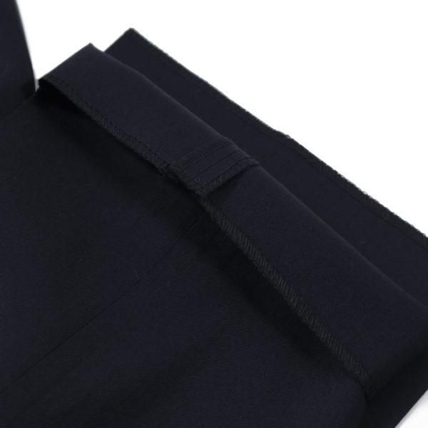 CANALI FORMAL WOOL TROUSERS IN MIDNIGHT NAVY unfinished hem