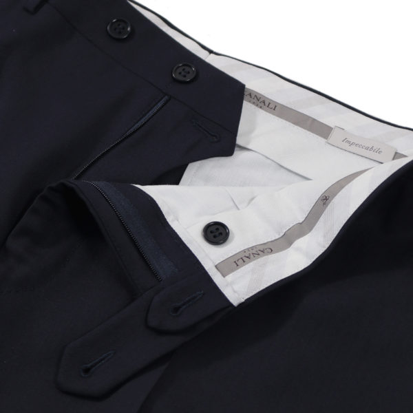 CANALI FORMAL WOOL TROUSERS IN MIDNIGHT NAVY unfinished waist