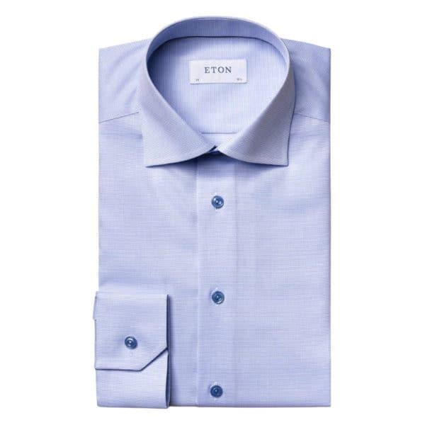 ETON shirt Blue and White Twill 2