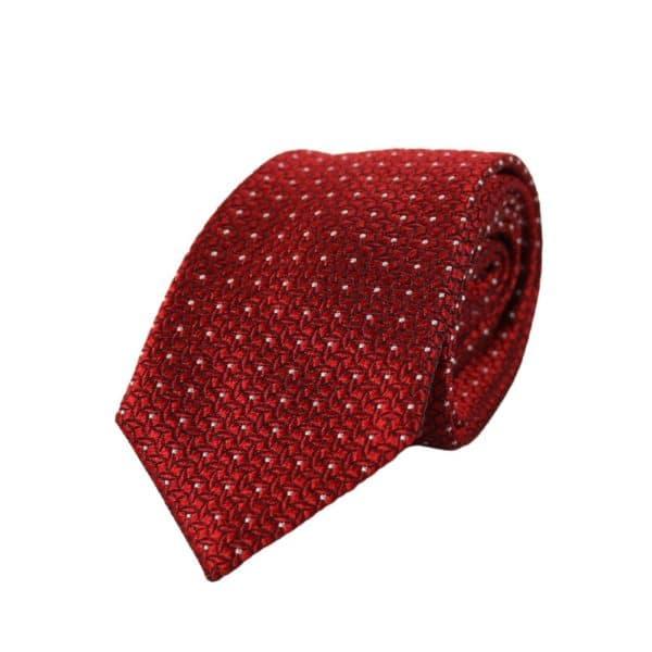 Emporio Armani Micro dot tie Red