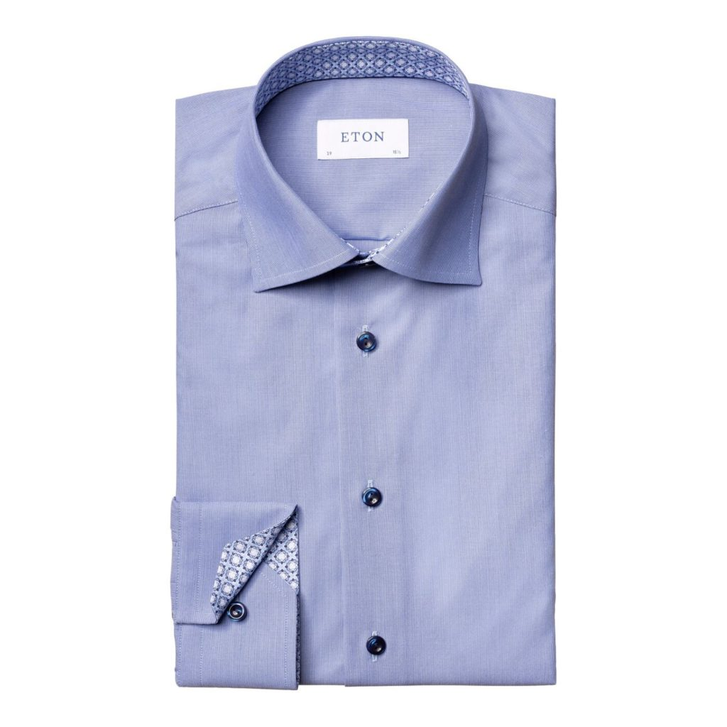 Eton shirt Blue hairline striped – navy details