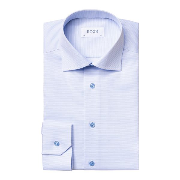 Eton shirt light blue and white twill 1
