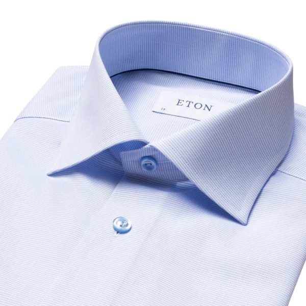 Eton shirt light blue and white twill 2