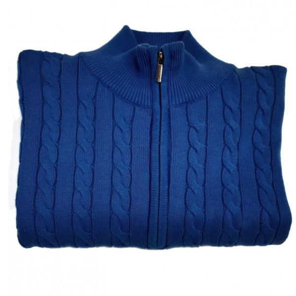 FYNCH HATTON BLUE CABLE KNIT FULL ZIP