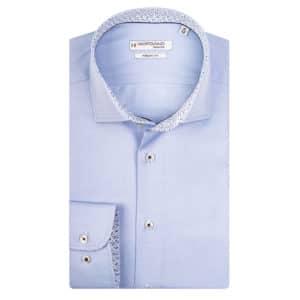 Gioradno Satin modern kent longsleeve shirt light blue