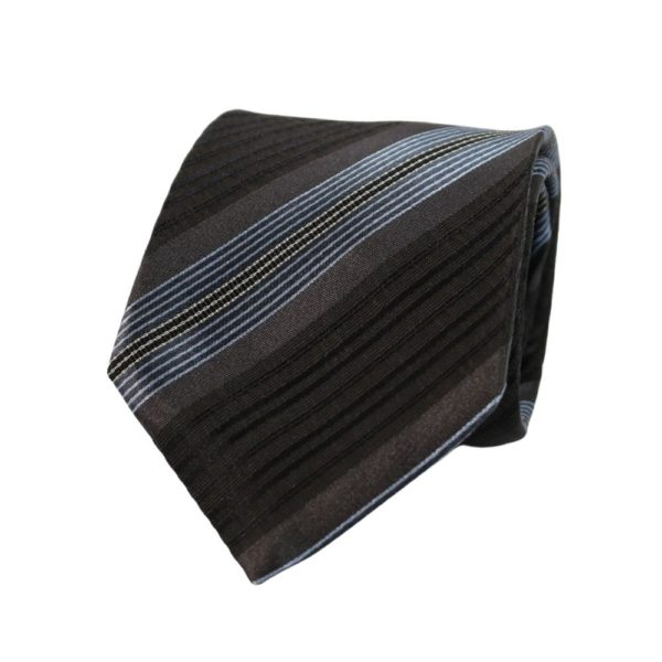 Giorgio Armani tie stripe black blue main