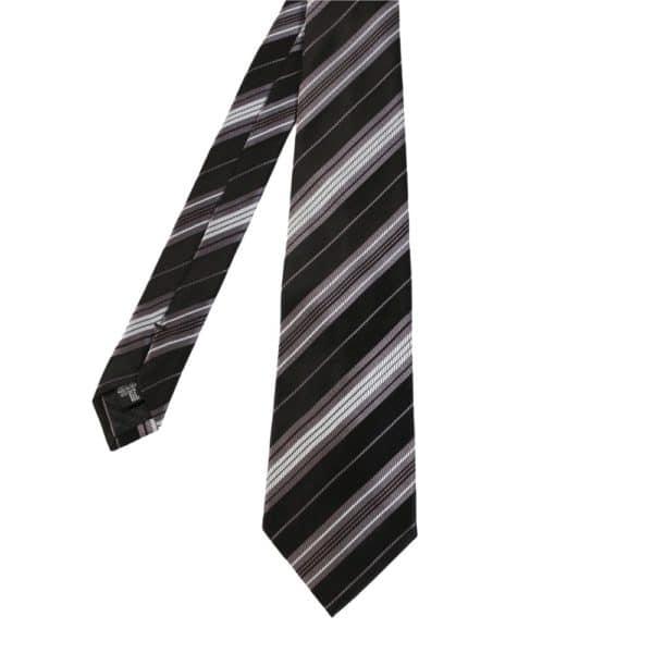 Giorgio Armani tie stripe black grey main