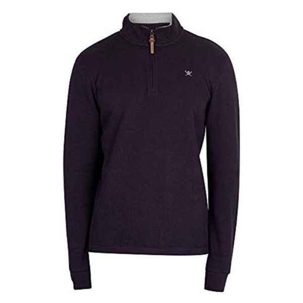 Hackett Mens French Rib Zip Sweatshirt Blue 1