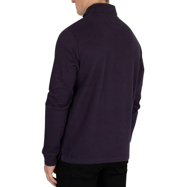 Hackett Mens French Rib Zip Sweatshirt Blue