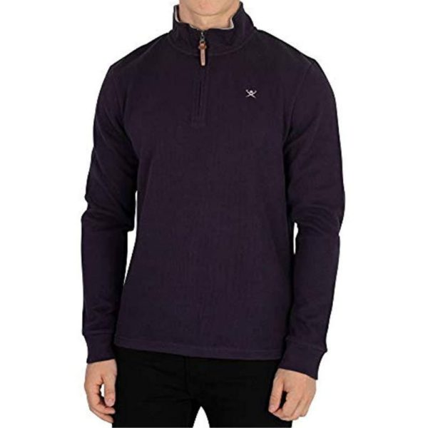 Hackett Mens French Rib Zip Sweatshirt Blue front