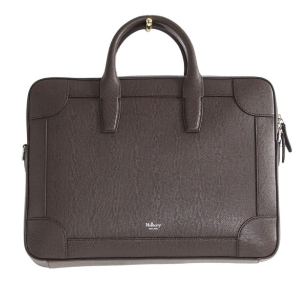 MULBERRY BELGRAVE SINGLE DOCUMENT HOLDER Chocolate front