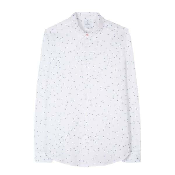 Mens Slim Fit White Mini Aster Print Cotton Blend Shirt