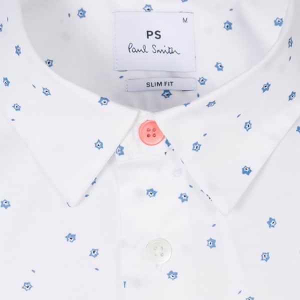 Mens Slim Fit White Mini Aster Print Cotton Blend Shirt detail