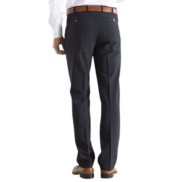 Meyer Roma Charcoal Wool Chinos back