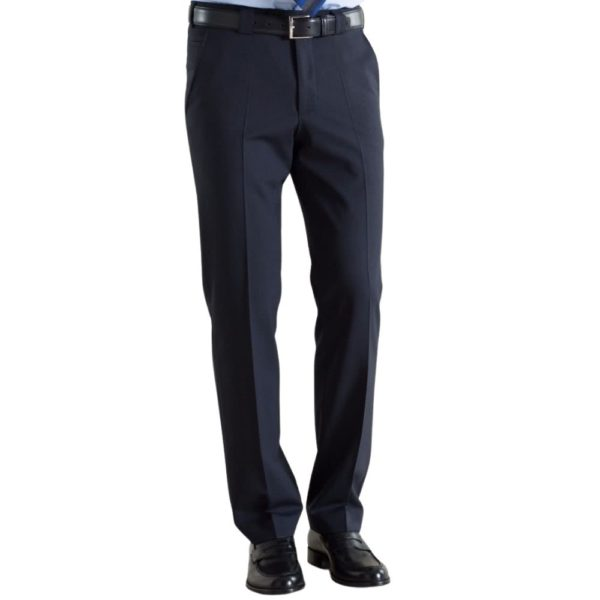 Meyer Roma Navy Wool Chinos Front