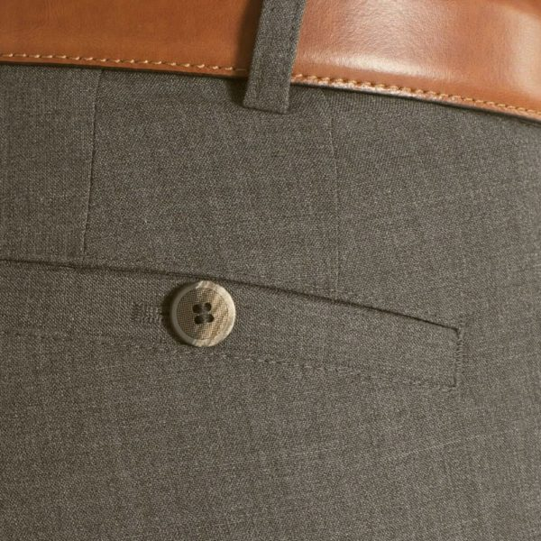 Meyer Roma Taupe Wool Chinos back pocket