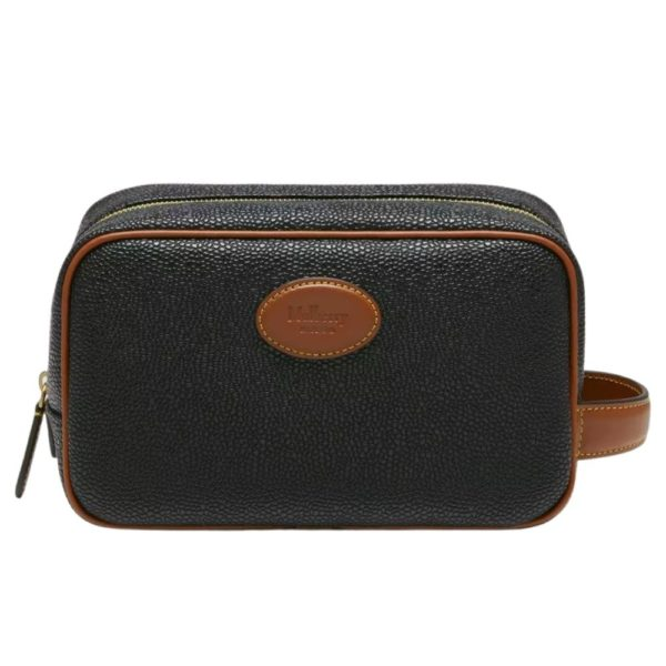 Mulberry Black Scotchgrain Wash Case front