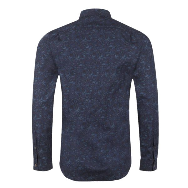 PAUL SMITH Tailored Fit Pattern Shirt Navy back