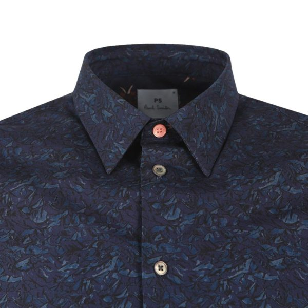 PAUL SMITH Tailored Fit Pattern Shirt Navy collar