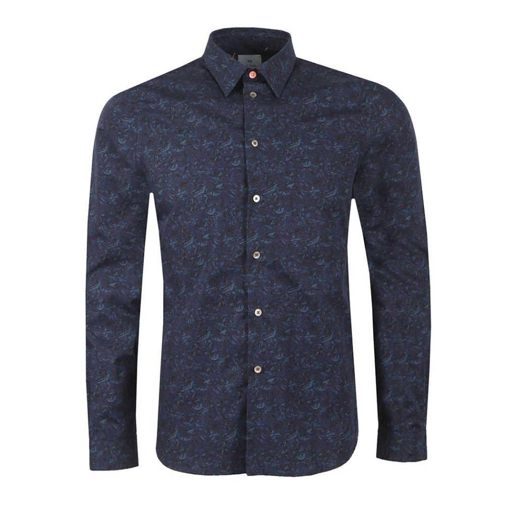 PAUL SMITH Tailored Fit Pattern Shirt Navy