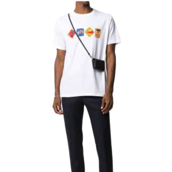 Paul Smith Mens White Warning Print Organic Cotton T Shirt 2